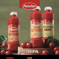 Fleischer 3 er Probierset, je 1 Fl. Tomaten-Ketchup, Curry-Ketchup, Schaschlik-Sauce a 425 ml. / 495 g
